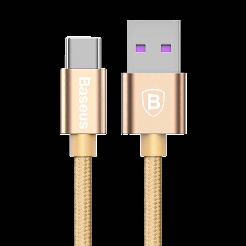 Кабель Type-C Baseus Speed QC Cable 5A, золотой