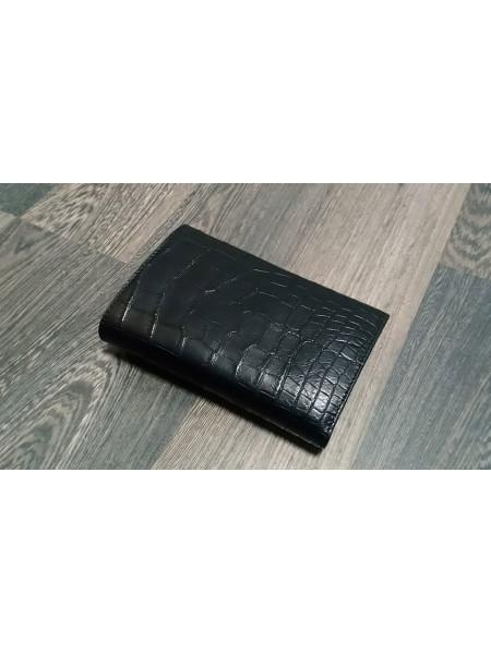 Мужской кожаный кошелёк из чёрной кожи крокодила Mobcase 1290