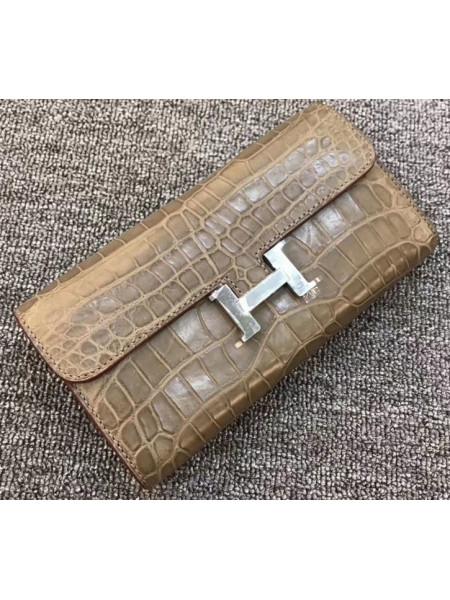 Женский кожаный кошелёк из серой кожи крокодила Mobcase 1292