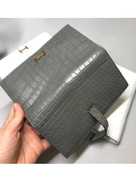 Женский кожаный кошелёк из тёмно-серой кожи крокодила Mobcase 1293