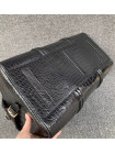 Мужская кожаная спортивно-дорожная сумка из чёрной кожи крокодила Mobcase 1286