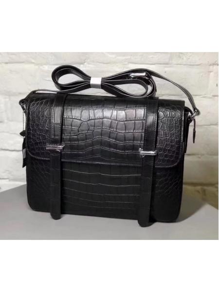 Мужская кожаная сумка из чёрной кожи крокодила Mobcase 1284