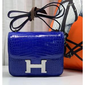 Женская кожаная сумка через плечо из синей кожи крокодила Mobcase 1289