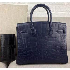 Женская кожаная сумка из тёмно-синей кожи крокодила Mobcase 1287
