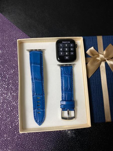 Дорогой синий ремешок для Apple Watch из кожи крокодила Mobcase 1376
