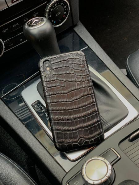 Чехол для телефона из натуральной, чёрной кожи крокодила, Mobcase 946