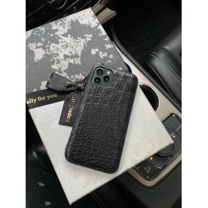 Чехол из чёрной кожи крокодила, Mobcase 1095