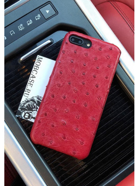 Чехол из натуральной, красной, страусиной кожи Mobcase 702 для iPhone