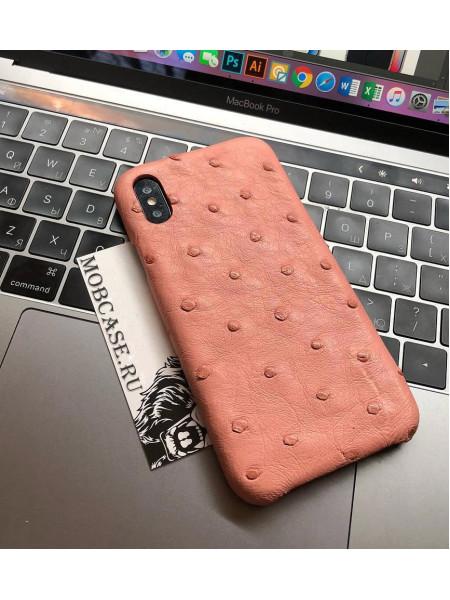 Чехол из натуральной, светло-розовой, страусовой кожи Mobcase 703 для iPhone