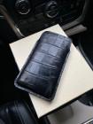 Чехол карман чёрный кожаный с выделкой под крокодила Mobcase 1312