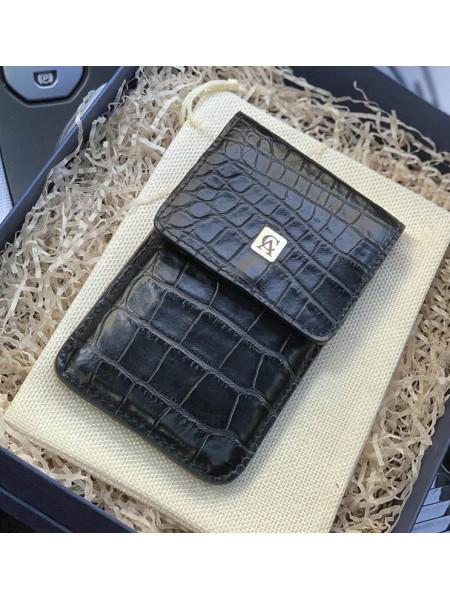 Чехол-карман с логотипом из натуральной, чёрной кожи, Mobcase 940