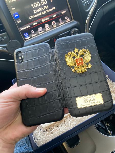 Чехол книжка, кожаный, именной с гербом России, Mobcase 342