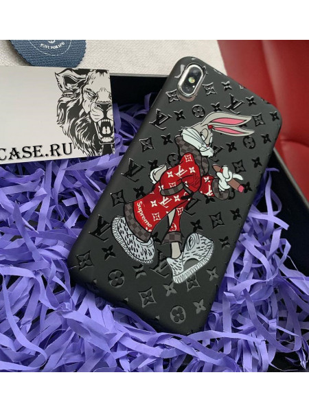 Чехол Louis Vuitton, чёрный с принтом Bugs Bunny Mobcase 808 для iPhone