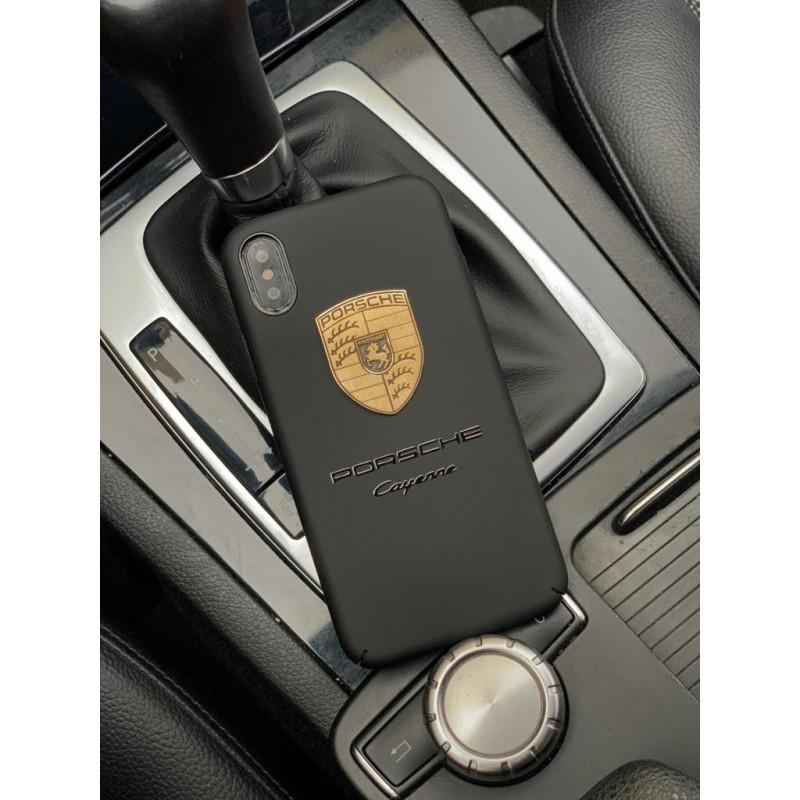 Чёрный чехол для iPhone XS с позолоченным логотипом Porsche, Mobcase 944