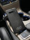 Купить чёрный чехол из кожи игуана с инициалами И,О для Samsung Galaxy S10 Plus