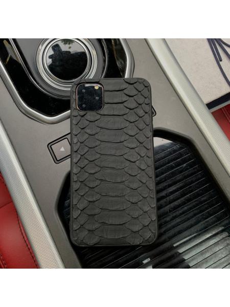 Чёрный чехол из кожи питона для iPhone 11 / Pro / Max, Mobcase 952