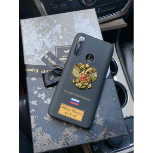Чёрный чехол с гербом России Mobcase 1128