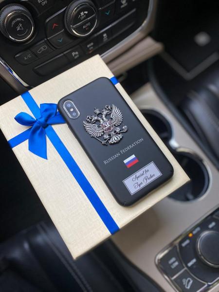 Чёрный, именной чехол с гербом России Mobcase 1161
