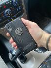 Чёрный, именной, кожаный чехол Mobcase 1058 с гербом России
