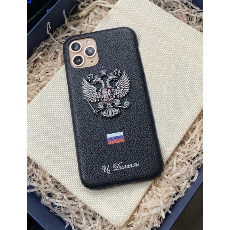 Чёрный, именной, кожаный чехол с гербом России, Mobcase 1069