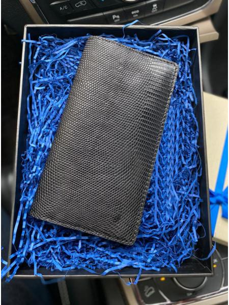 Кожаный чёрный мужской кошелёк ручной работы Mobcase 1092