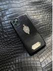 Чёрный кожаный чехол из игуана с гербом ФСБ Mobcase 1398