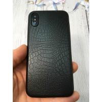 Чёрный, кожаный чехол из качественной эко кожи Mobcase 829 для iPhone X