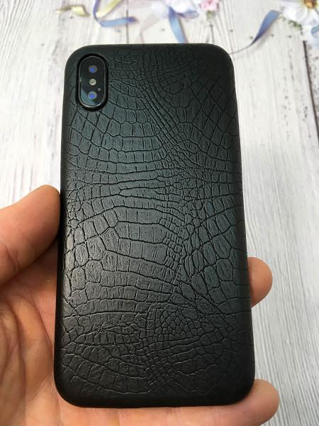Чёрный, кожаный чехол из качественной эко кожи Mobcase 830 для iPhone XS