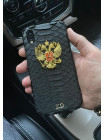 Чёрный, кожаный чехол с гербом России, инициалами Mobcase 197