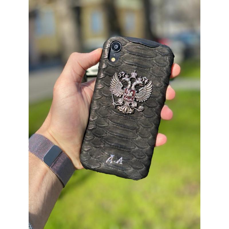 Чёрный, кожаный чехол с гербом России, инициалами, Mobcase 245