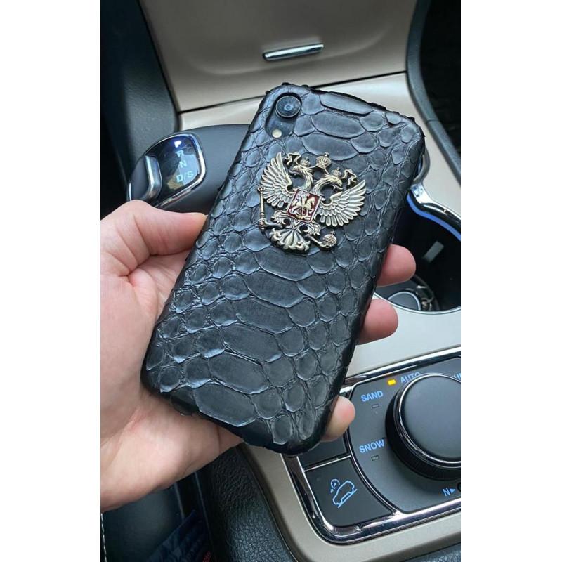 Чёрный, кожаный чехол с гербом России, Mobcase 1053