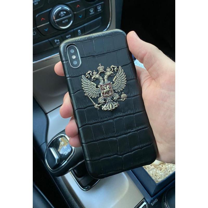 Чёрный, кожаный чехол с гербом России, Mobcase 1077