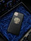 Чёрный, кожаный чехол с гербом России, Mobcase 349