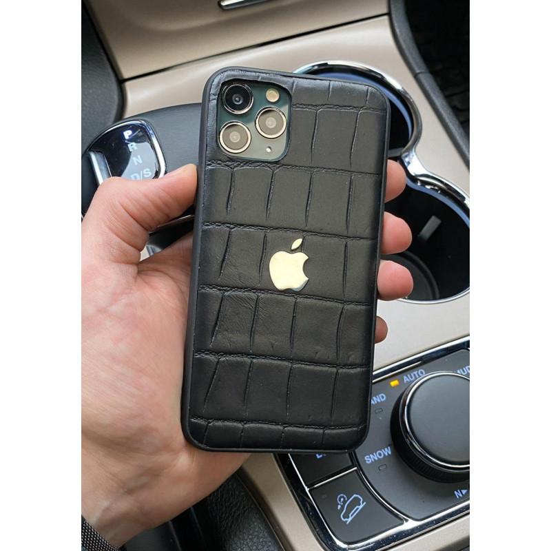 Чёрный, кожаный чехол с логотипом Apple, Mobcase 1048