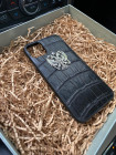 Чёрный, кожаный чехол с серебряным гербом России, Mobcase 1101