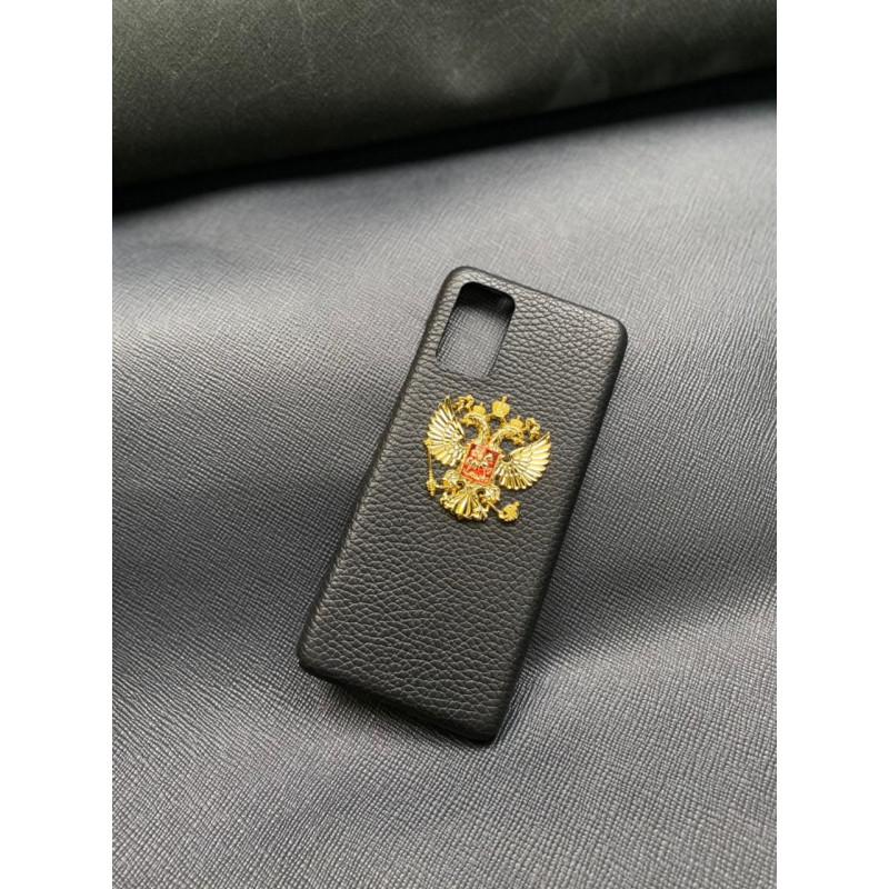 Чёрный кожаный чехол с золотым гербом России Mobcase 1388