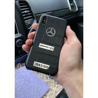Чёрный, кожаный, именной чехол с логотипом Mercedes AMG, Mobcase 1033