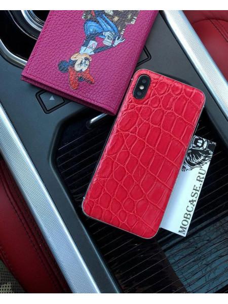 Дорогой чехол из красной кожи крокодила Mobcase 693 для iPhone 7, 8, 7 Plus, 8 Plus, X, XS, XSMAX, XR