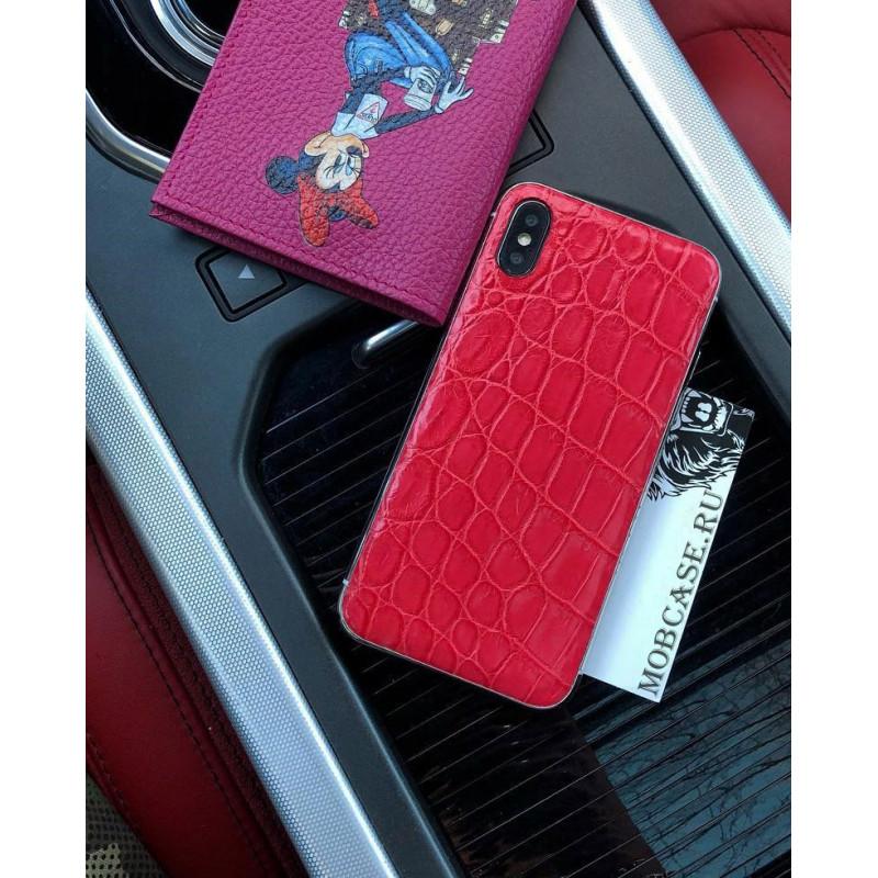 Дорогой чехол из красной кожи крокодила Mobcase 693 для iPhone