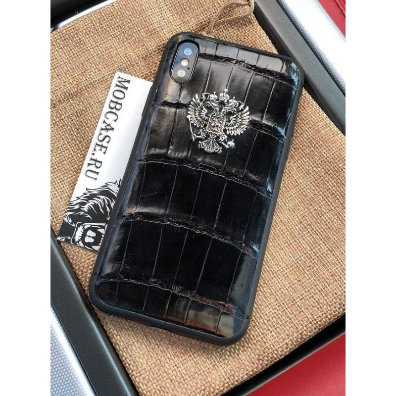 Дорогой чехол из крокодиловой кожи, с гербом России, Mobcase 607, для iPhone