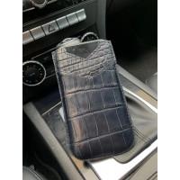Дорогой чехол-карман из темно-синей, крокодиловой кожи, Mobcase 894