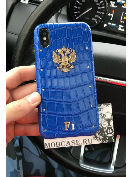 Дорогой чехол с гербом России из синей крокодиловой кожи Mobcase 694 для iPhone 7, 8, 7 Plus, 8 Plus, X, XS, XSMAX, XR