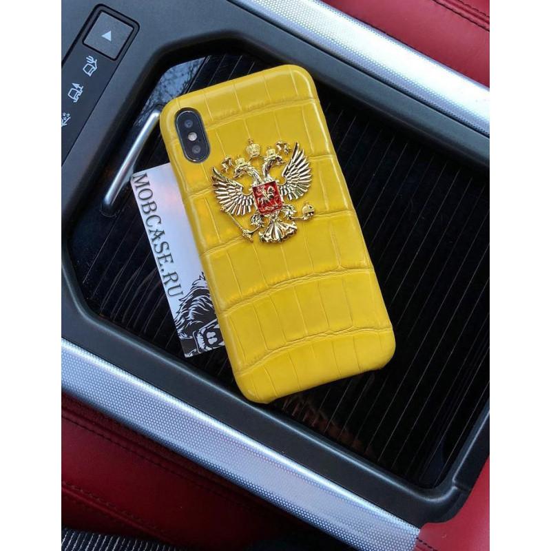 Дорогой чехол с гербом России из жёлтой, крокодиловой кожи Mobcase 695 для iPhone