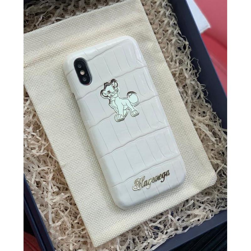 Дорогой, именной чехол из белой крокодиловой кожи с логотипом Львёнка, Mobcase 902