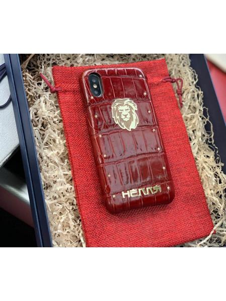 Дорогой, именной чехол из красной крокодиловой кожи с логотипом Льва, Mobcase 901