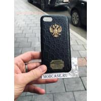 Дорогой, именной чехол с гербом России из чёрной крокодиловой кожи, Mobcase 725 для iPhone 7, 8, 7 Plus, 8 Plus, X, XS, XSMAX, XR