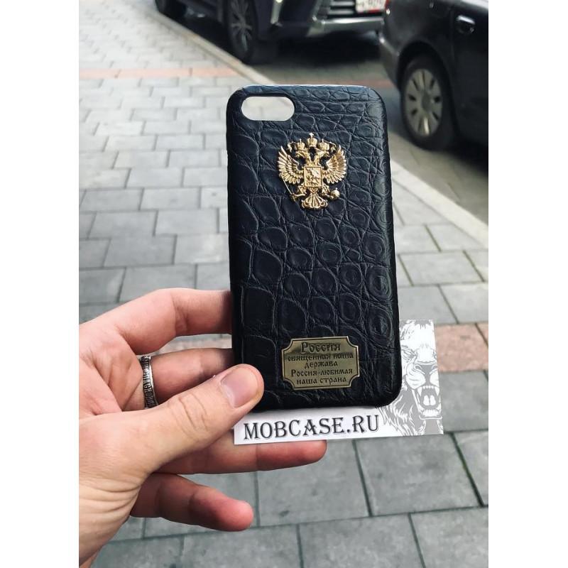 Дорогой, именной чехол с гербом России из чёрной крокодиловой кожи, Mobcase 725 для iPhone