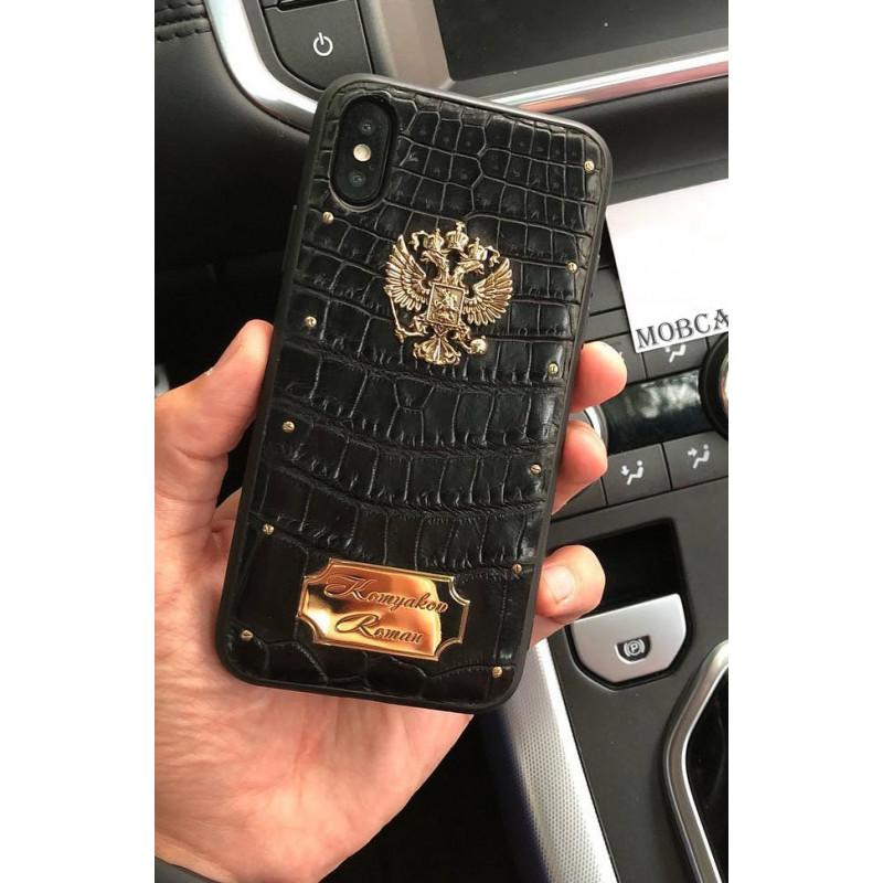 Дорогой, именной чехол с позолоченным гербом России Mobcase 622, для iPhone