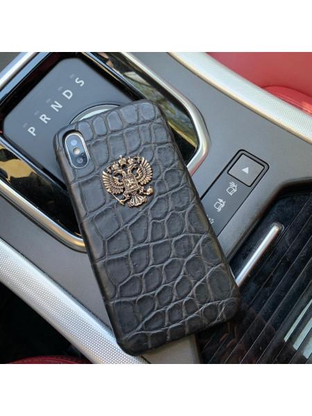 Дорогой, кожаный чехол с бронзовым гербом России Mobcase 847 для телефона
