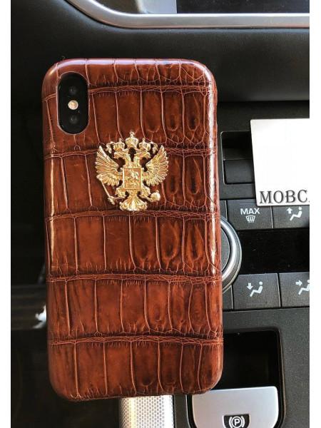 Дорогой, кожаный чехол с позолоченным гербом России, Mobcase 700 для iPhone 7, 8, 7 Plus, 8 Plus, X, XS, XSMAX, XR